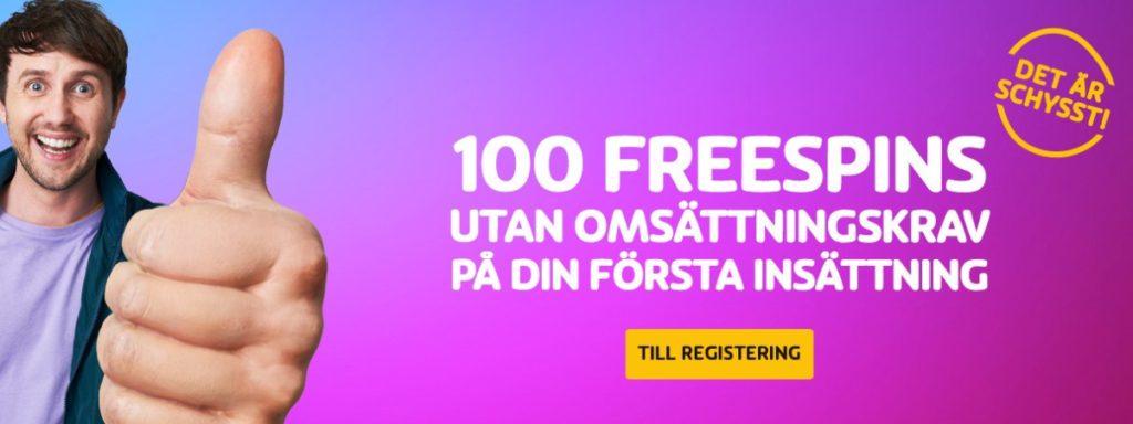 100 free spins i bonus utan omsättningskrav